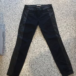 Tory Burch denim and black leather pants 29🌺